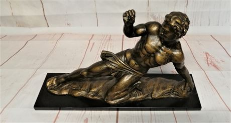 "Beautiful Plaster Study ""Athlete"" Reclining"