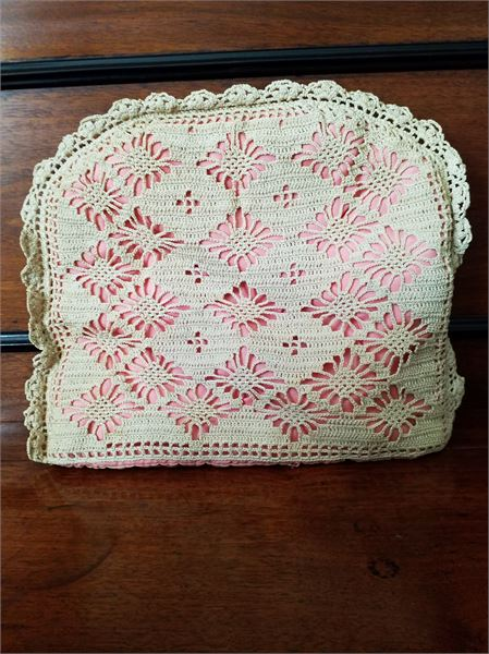 1945 CROCHETED OVER ORGANZA TEAPOT COVER