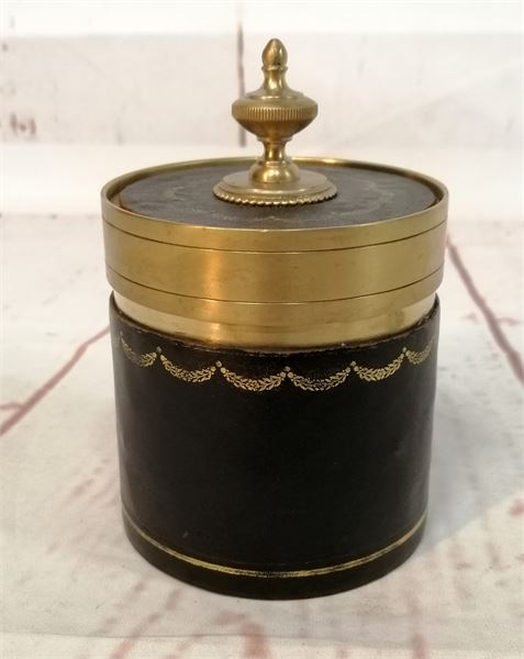 Brass & Leather Lidded Pot