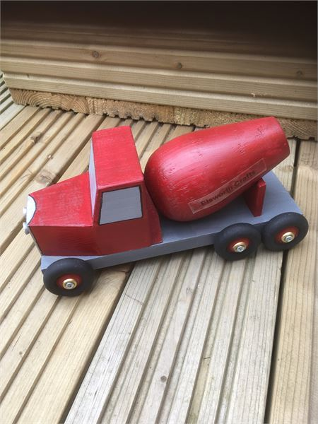 Hand Made Wooden Toy Cement Mixer Truck.