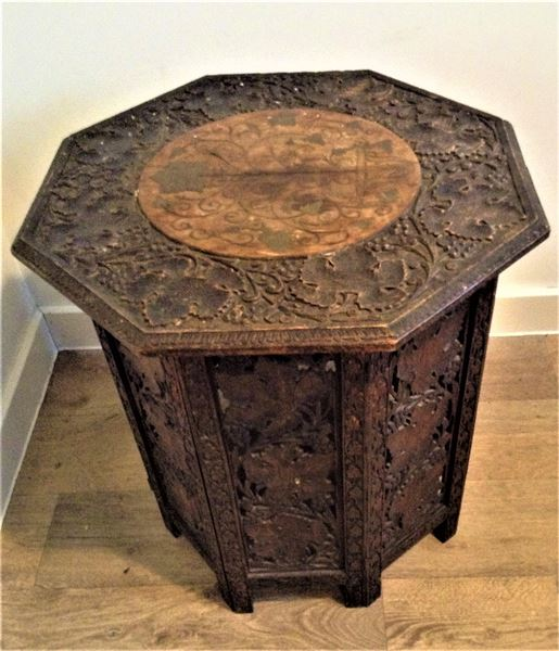 Indian Hand Carved Octagonal Occasional Table